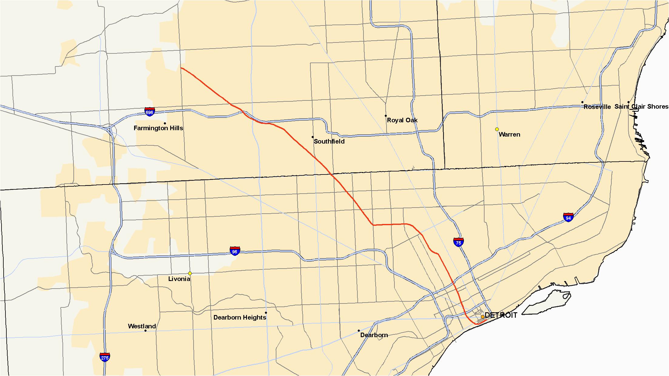 Map Warren Michigan M 10 Michigan Highway Wikipedia