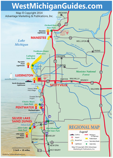 Michigan West Coast Map West Michigan Guides West Michigan Map Lakeshore Region Ludington
