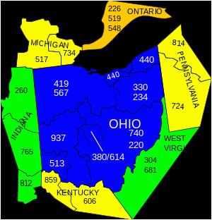 Ohio area Codes Map area Codes 234 and 330 Wikipedia