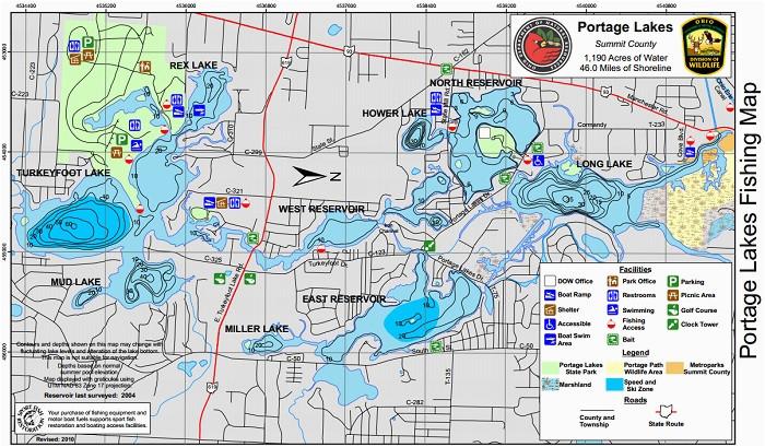 Ohio Fishing Maps Portage Lakes