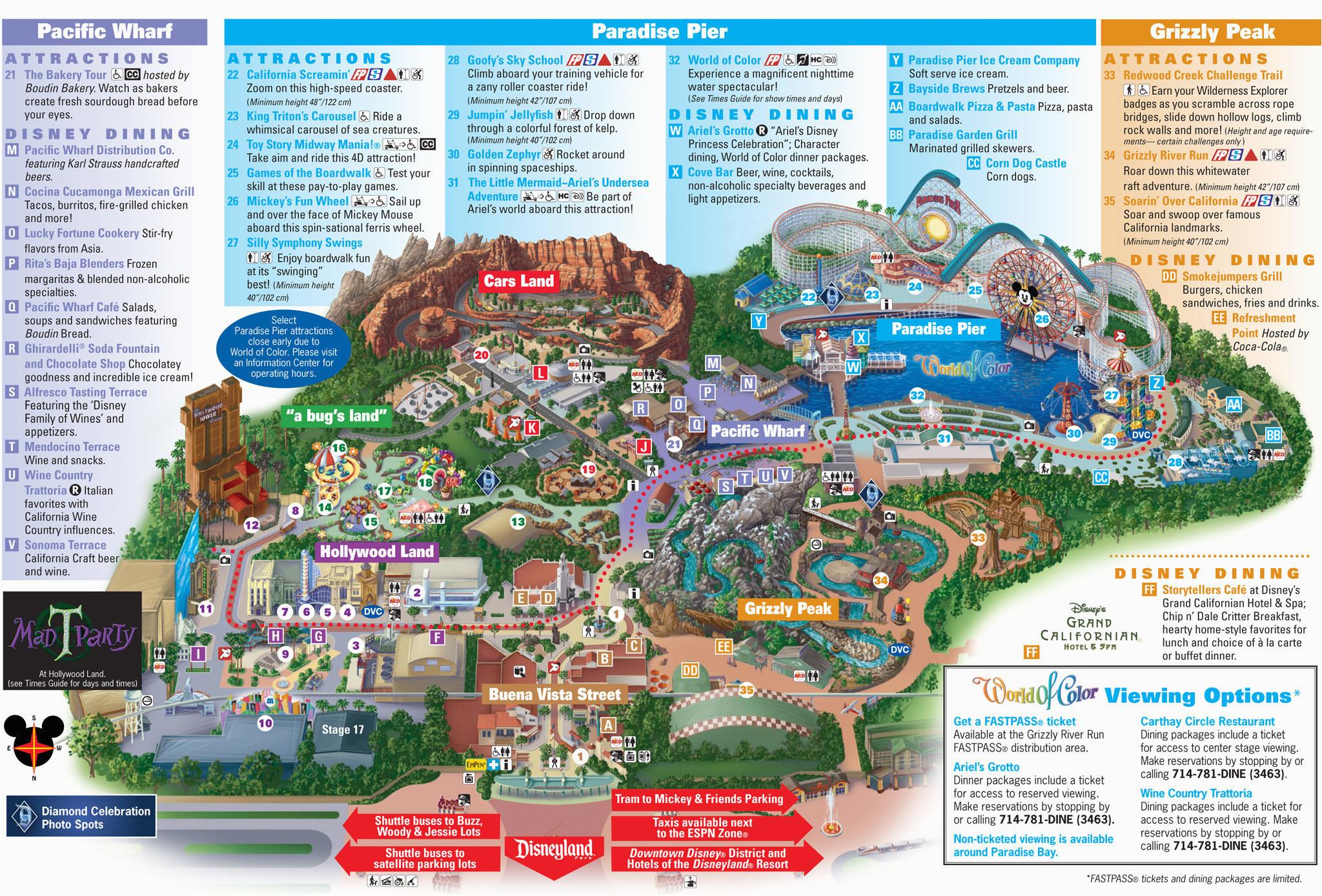 Printable California Adventure Map Printable Map Disneyland and California Adventure Ettcarworld High