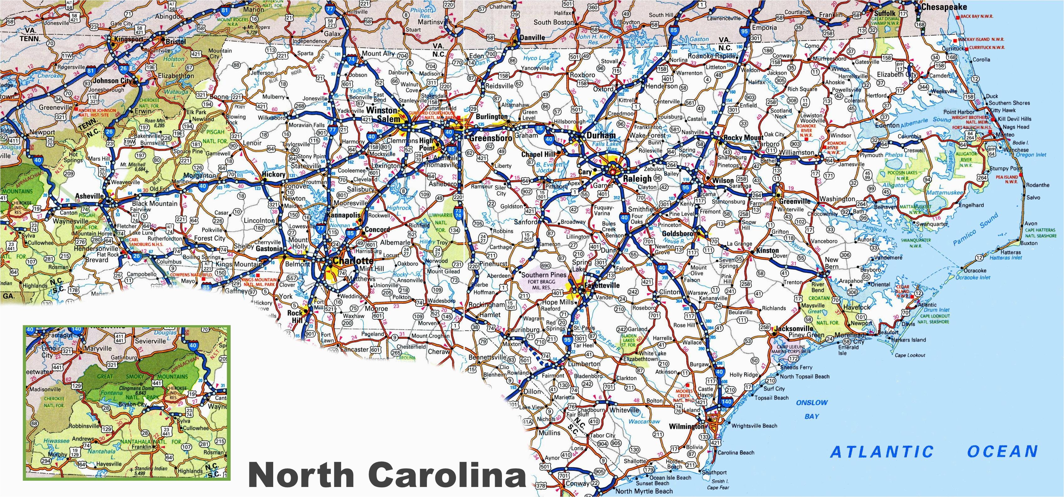Road Map Of north Carolina and Virginia north Carolina Road Map