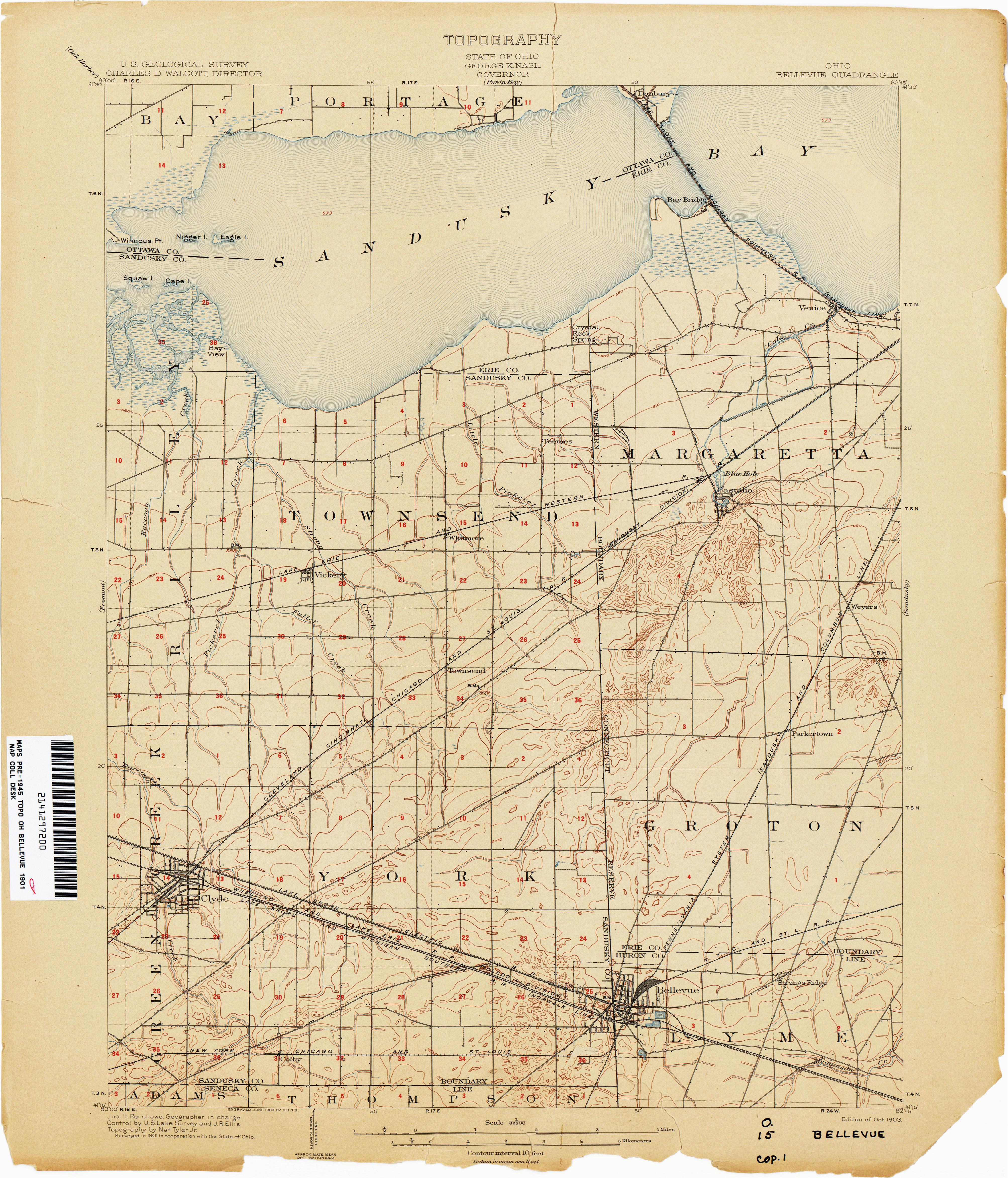 Sandusky Ohio Street Map Ohio Historical topographic Maps Perry Castaa Eda Map Collection