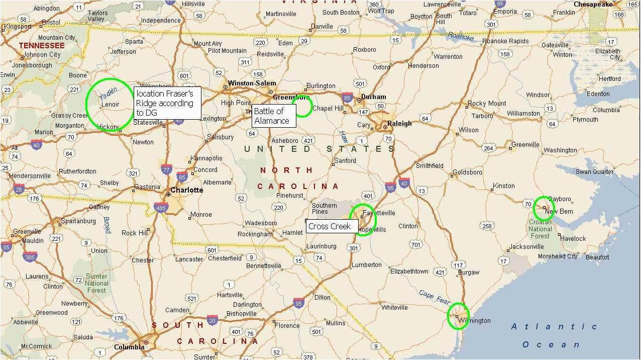 Show A Map Of north Carolina Map Of north Carolina and where Fraser S Ridge Would Be Outlander