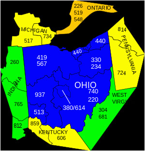 Area Codes Ohio Map area Codes 234 and 330 Wikipedia