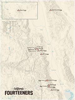 California 14ers Map Amazon Com 58 Colorado 14ers Map 18×24 Poster Gray Posters Prints