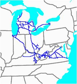 Chesapeake Ohio Map Chesapeake and Ohio Railway Wikipedia