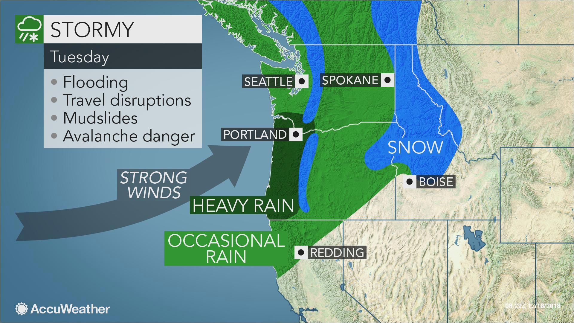 Enterprise oregon Map Early Week Storm May Be Strongest yet This Season In northwestern Us