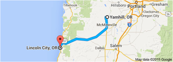 Map Lincoln City oregon From Yamhill or to Lincoln City or oregon Wine Country