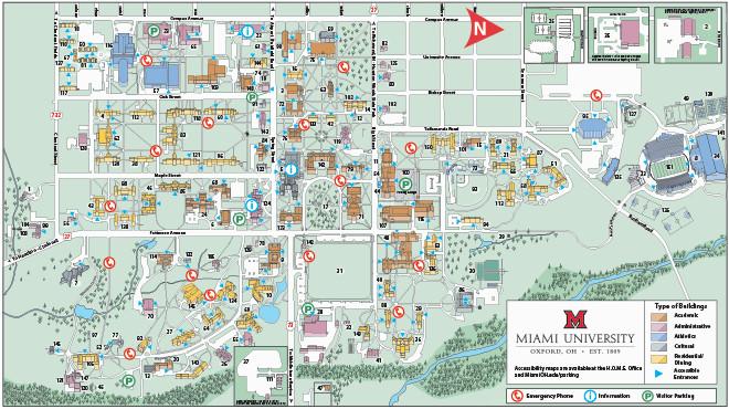 Map Of Miami County Ohio Oxford Campus Maps Miami University