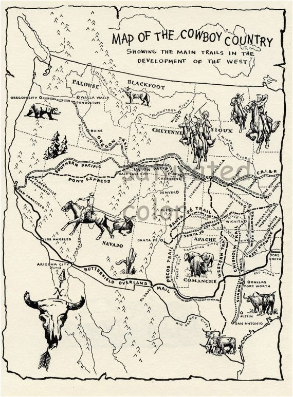 Map Of oregon Trail 1850 Vintage Cowboy Country Map Digital Image Download 1950s Map Of