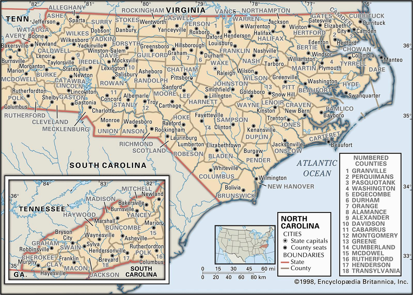 Maps Of north Carolina Counties State and County Maps Of north Carolina