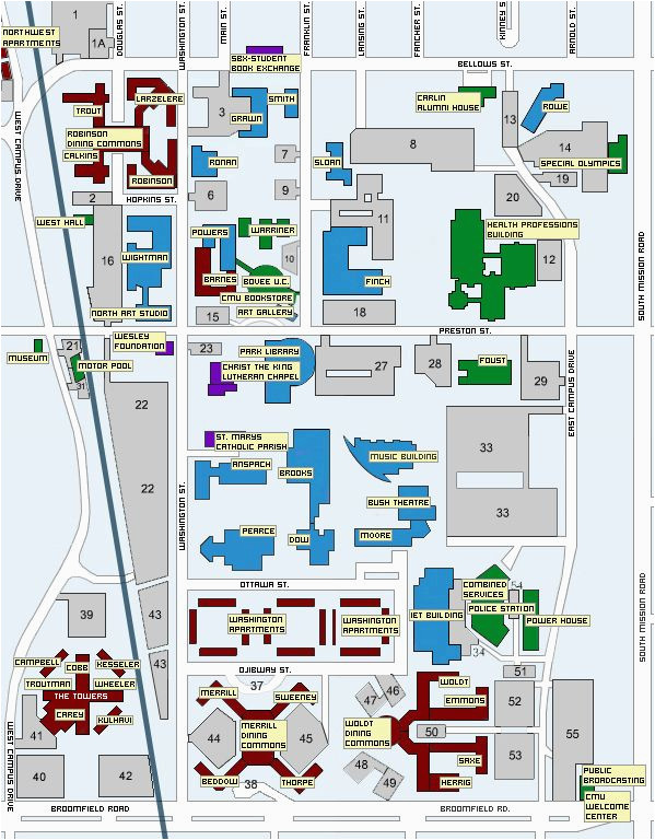 Michigan Central Campus Map Central Michigan University Map Mount Pleasant Mich Mappery
