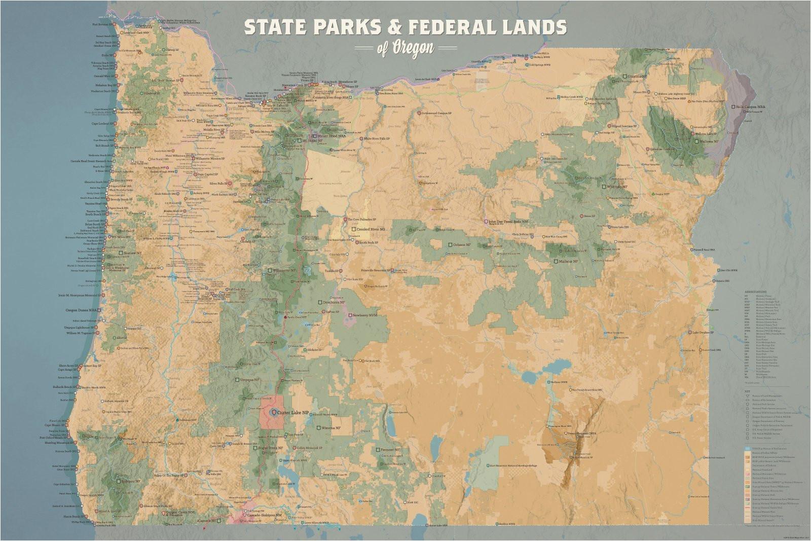 Oregon Blm Land Map oregon State Parks Federal Lands Map 24×36 Poster Best Maps Ever