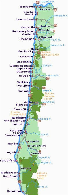 Oregon Coast City Map Simple oregon Coast Map with towns and Cities Projects to Try In
