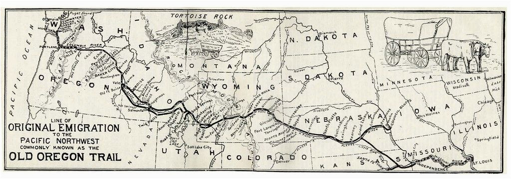 Oregon Trail Map with Landmarks Map Of the oregon Trail by Ezra Meeker the Hop King Of the World