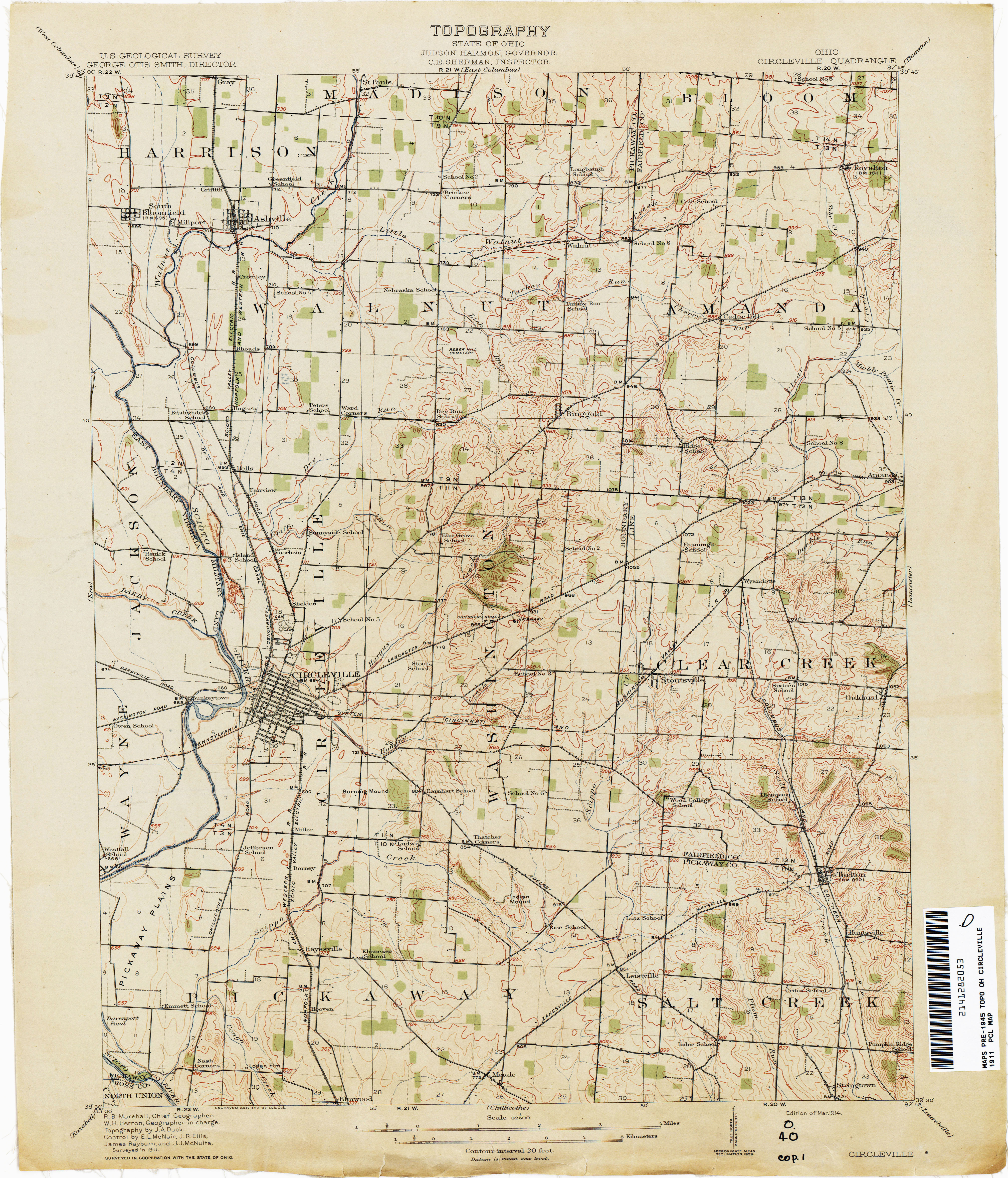 Ross County Ohio Map Ohio Historical topographic Maps Perry Castaa Eda Map Collection