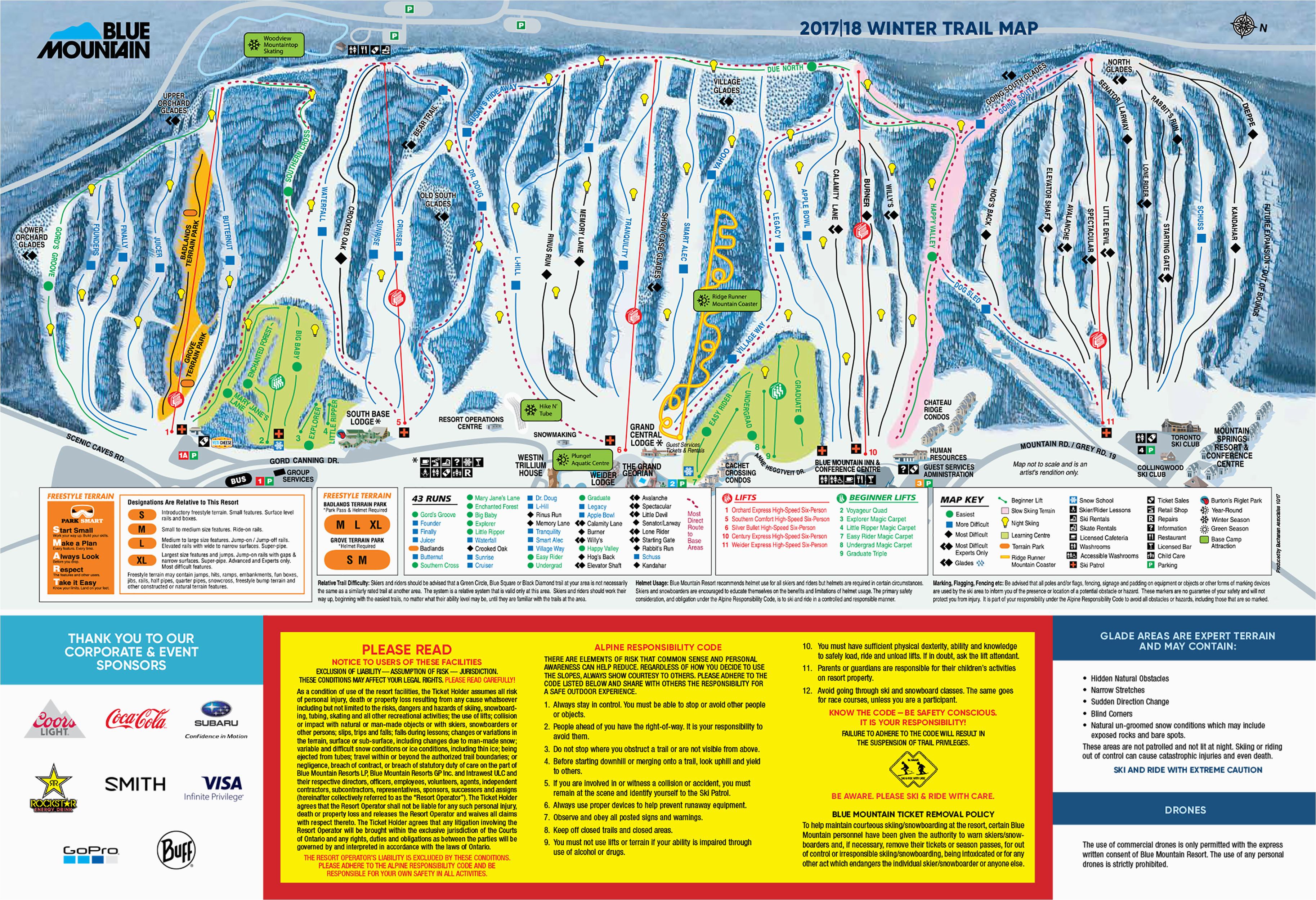 Ski Resorts Michigan Map Blue Mountain Trail Map Onthesnow