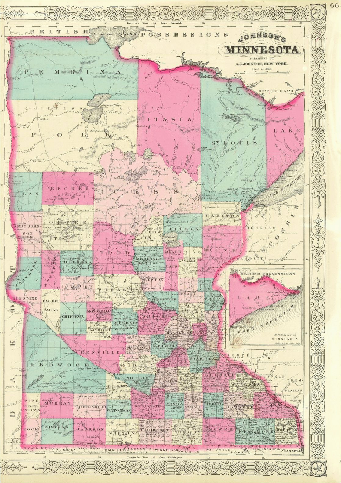 Detailed Map Of Minnesota 1852 Mitchell Minnesota Territory Map before north or south Dakota