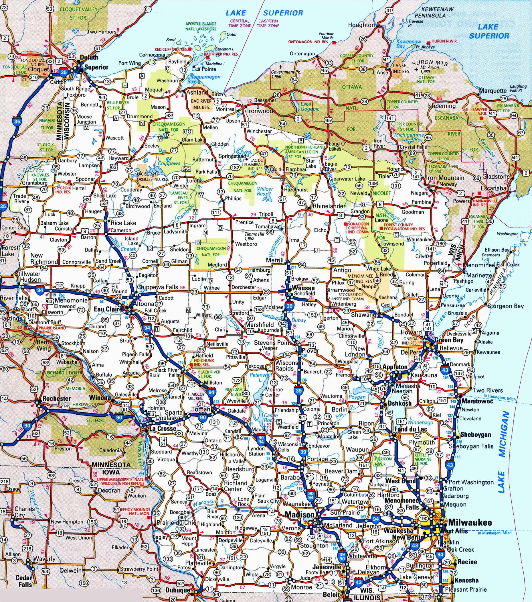 Highway Map Of Minnesota and Wisconsin Wisconsin Road Map