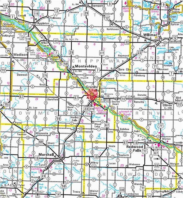Little Falls Minnesota Map Guide to Granite Falls Minnesota