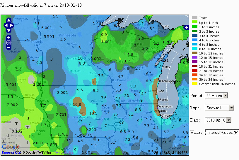 Map Of Iowa and Minnesota Snowfall totals Of February 7 9 2010