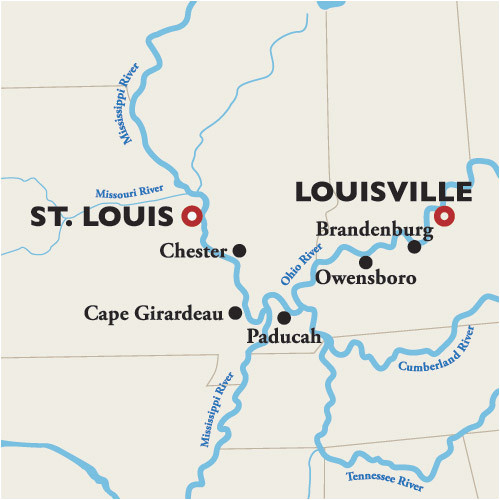 Map Of the Ohio River Ohio River Meets Mississippi River Map Louisville to St Louis River