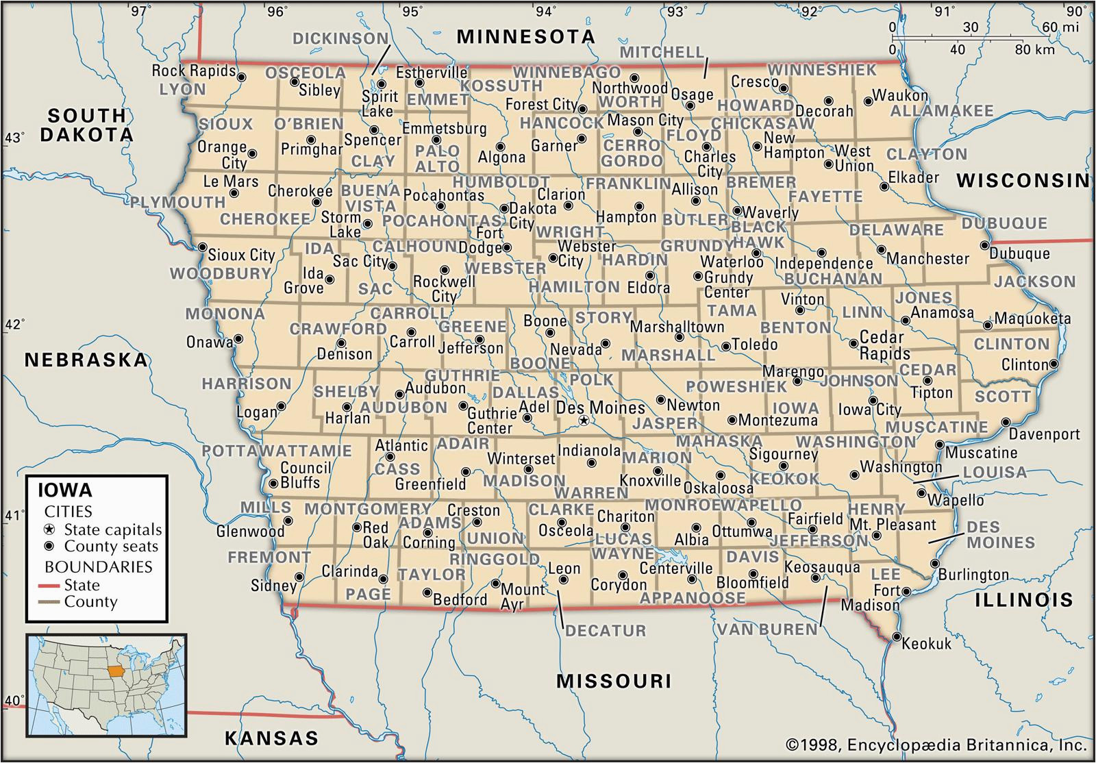 Minnesota Counties Map with Cities State and County Maps Of Iowa