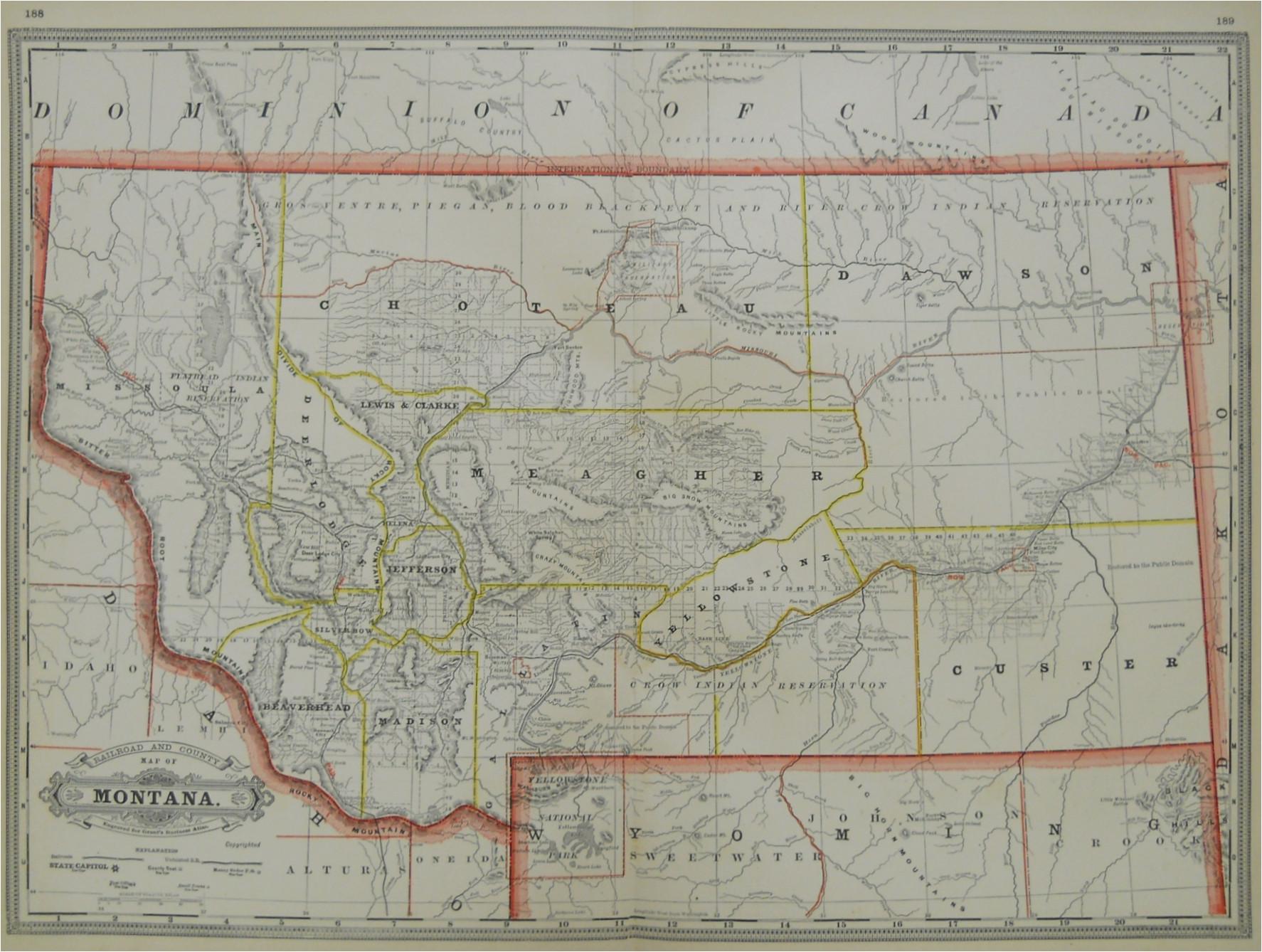 Minnesota Railroad Map Grant S Railroad and County Map Of Montana 1886 Philadelphia