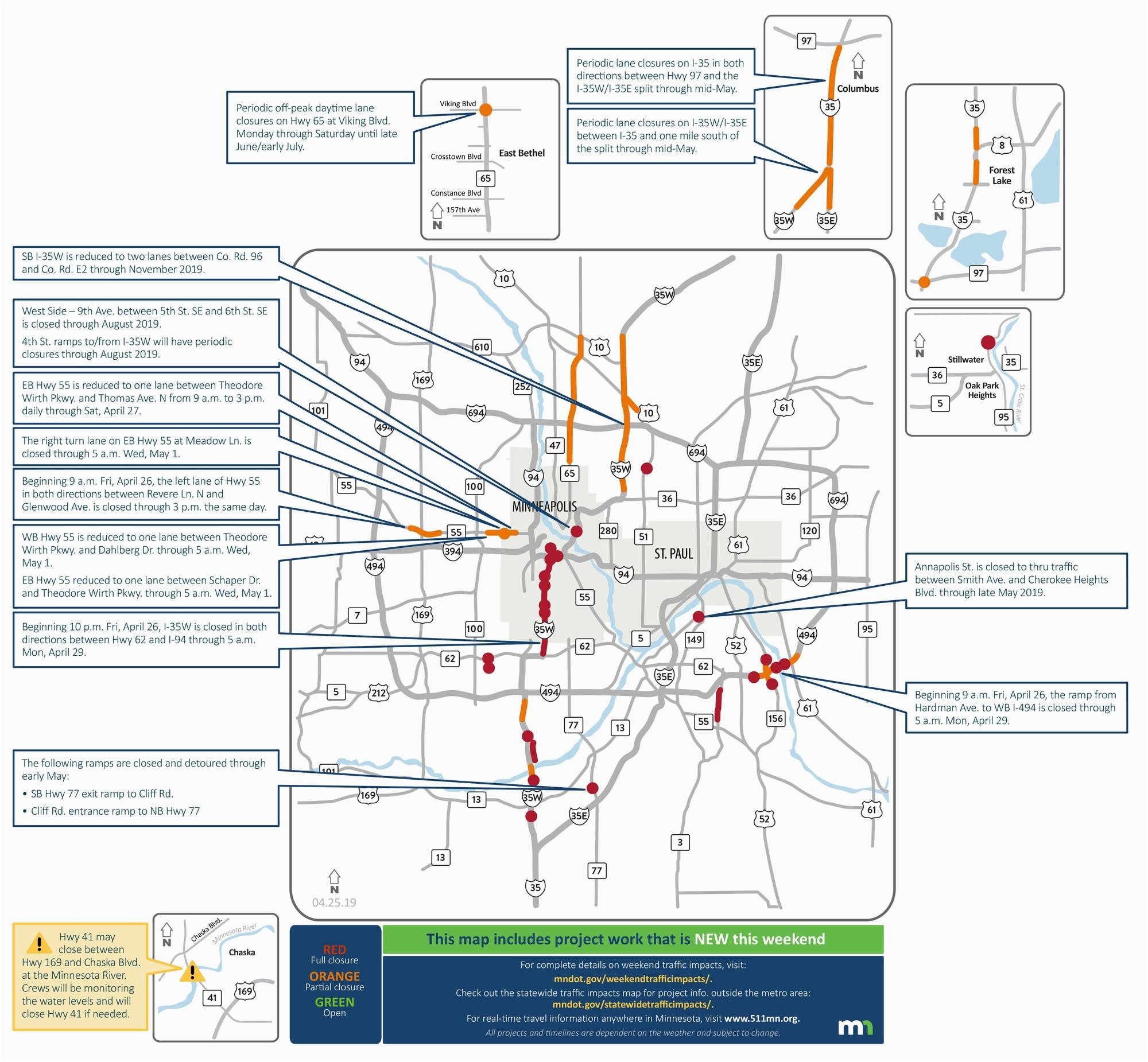 Minnesota Road Condition Map Closures On I 35w Lane Reductions Throughout Metro area This Weekend