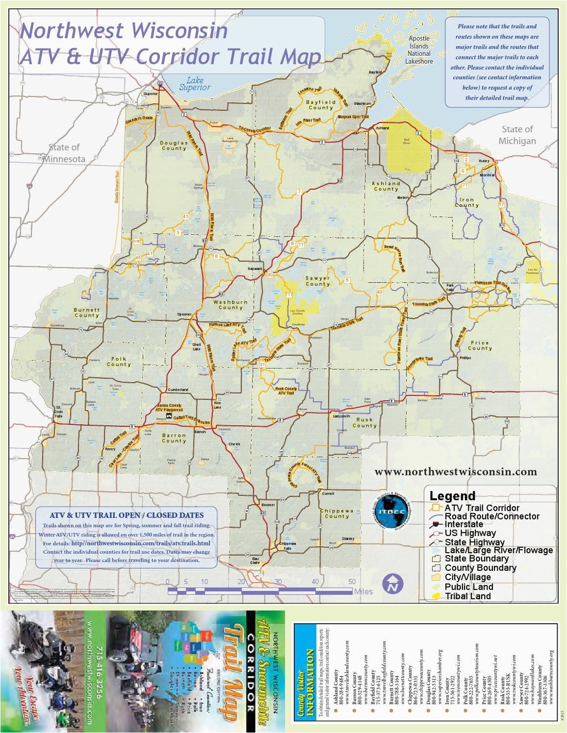 Minnesota Snowmobile Trail Map Nw Wisconsin atv Snowmobile Corridor Map 4 Wheeling Trail Maps