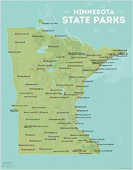 Minnesota State Map with Lakes Amazon Com Best Maps Ever Minnesota State Parks Map 11×14 Print