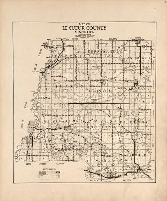 Minnesota township Range Map Map Plat Book Of Le Sueur County Minnesota Showing township