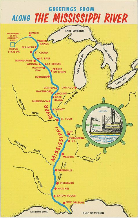 Mississippi River Map Minnesota Mississippi River From Bemidji to New orleans State Map Vintage