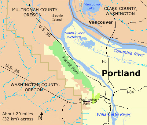 Multnomah County oregon Map forest Park In Portland Location Map forest Park Portland oregon
