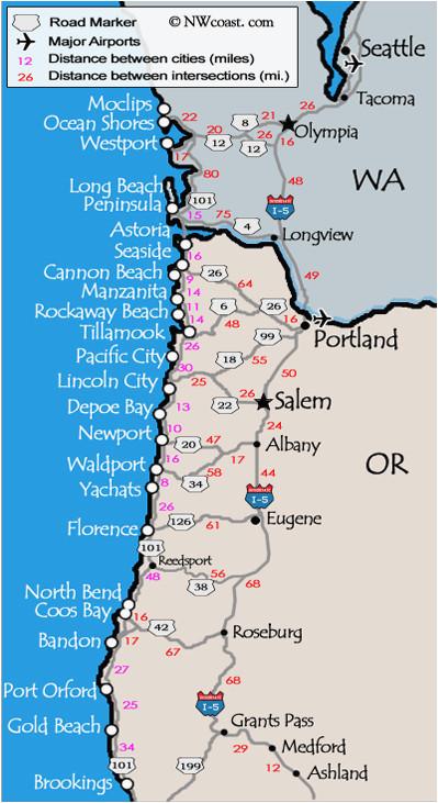 Oregon Coast attractions Map oregon Coastal Map Secretmuseum