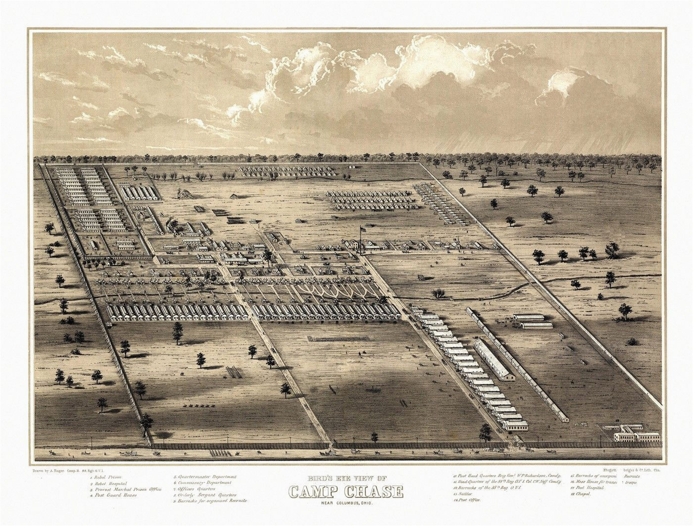 Peebles Ohio Map Vintage Map Of Camp Chase Ohio 1861 Fairfield County Poster