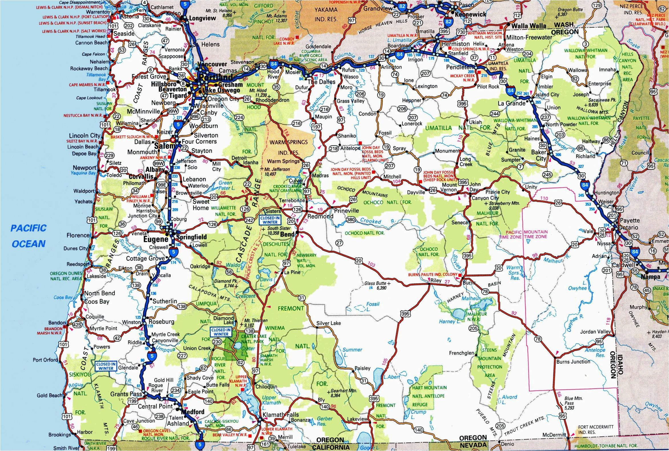 Road Map Of oregon Coast oregon Road Map