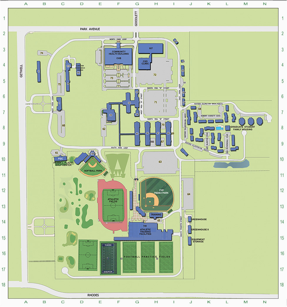 Tennessee Tech University Map the University Of Memphis Main Campus Map Campus Maps the