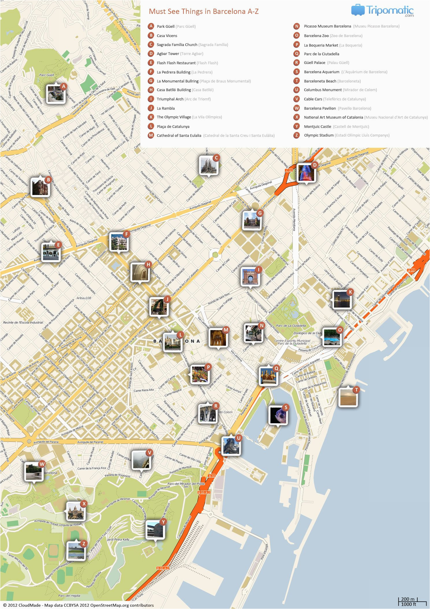 Barcelona Italy Map What to See In Barcelona Adventures A A Barcelona tourist Map