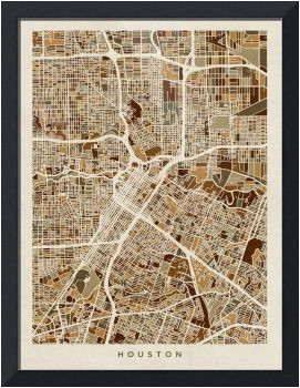 Framed Map Of Texas Houston Texas City Street Map by Michael tompsett Things I Love