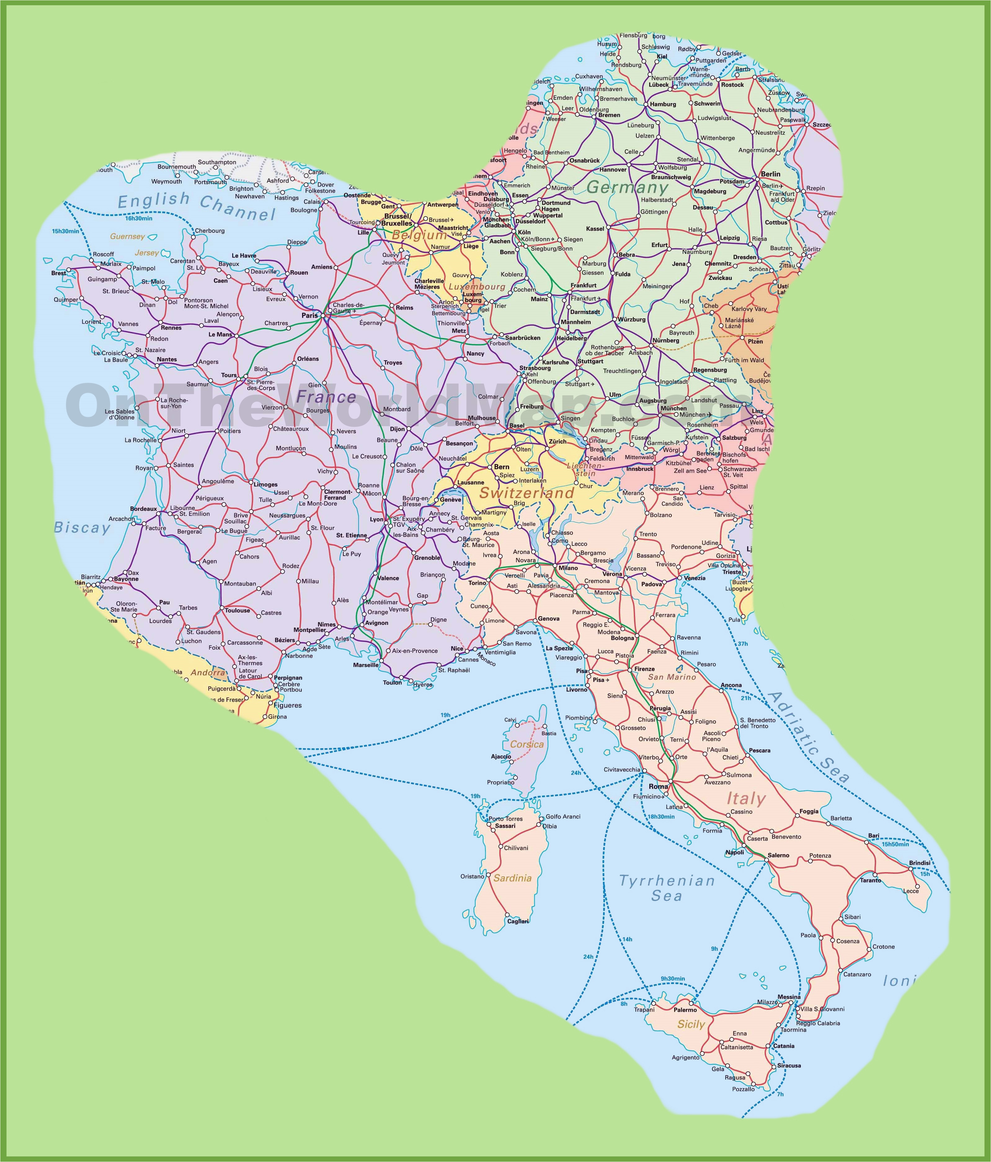 International Airports Italy Map Map Of Switzerland Italy Germany and France