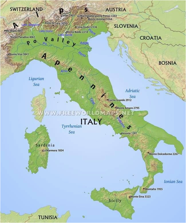 Italy Mountains Map Simple Italy Physical Map Mountains Volcanoes Rivers islands