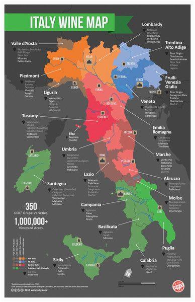 Italy On the World Map Italy Wine Map Wine Cheese Italienischer Wein Italien Karte