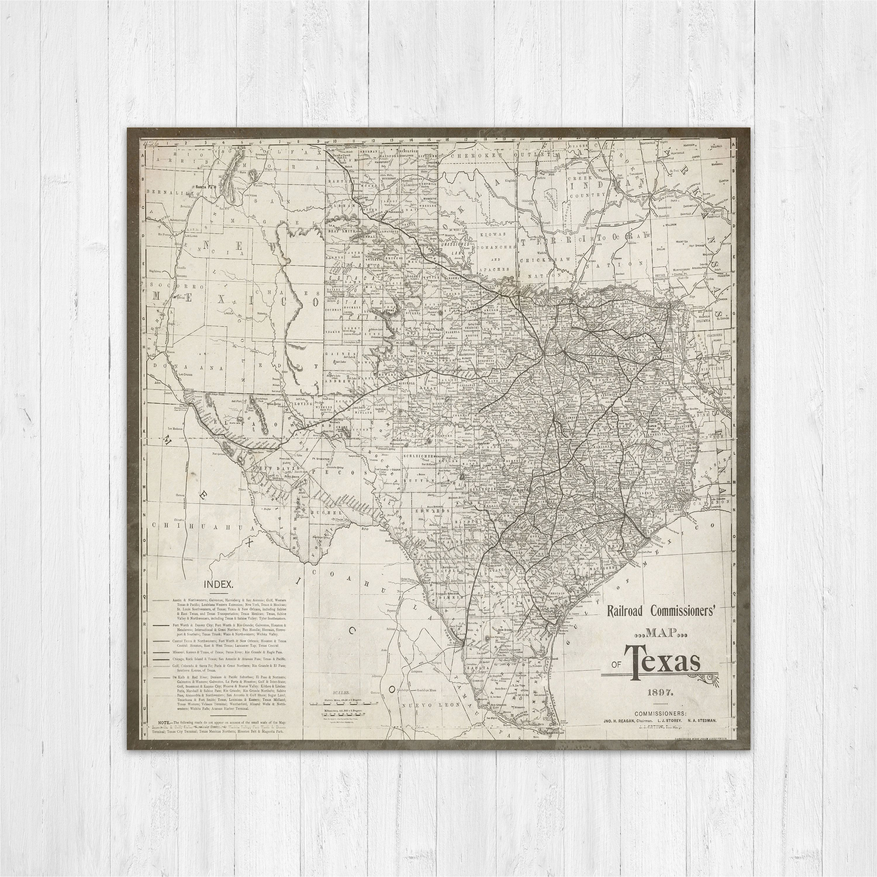 Lands Of Texas Map Map Of Texas Texas Canvas Map Texas State Map Antique Texas Map