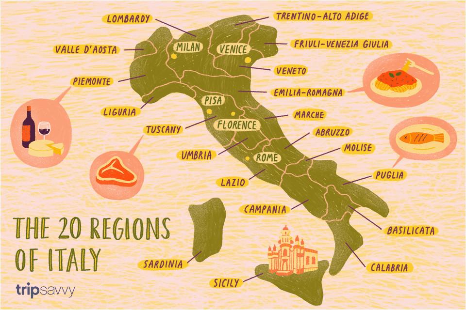 Map Of Italy Sardinia and Sicily Map Of the Italian Regions