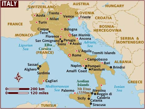 Map Of Italy Showing Rimini Map Of Italy