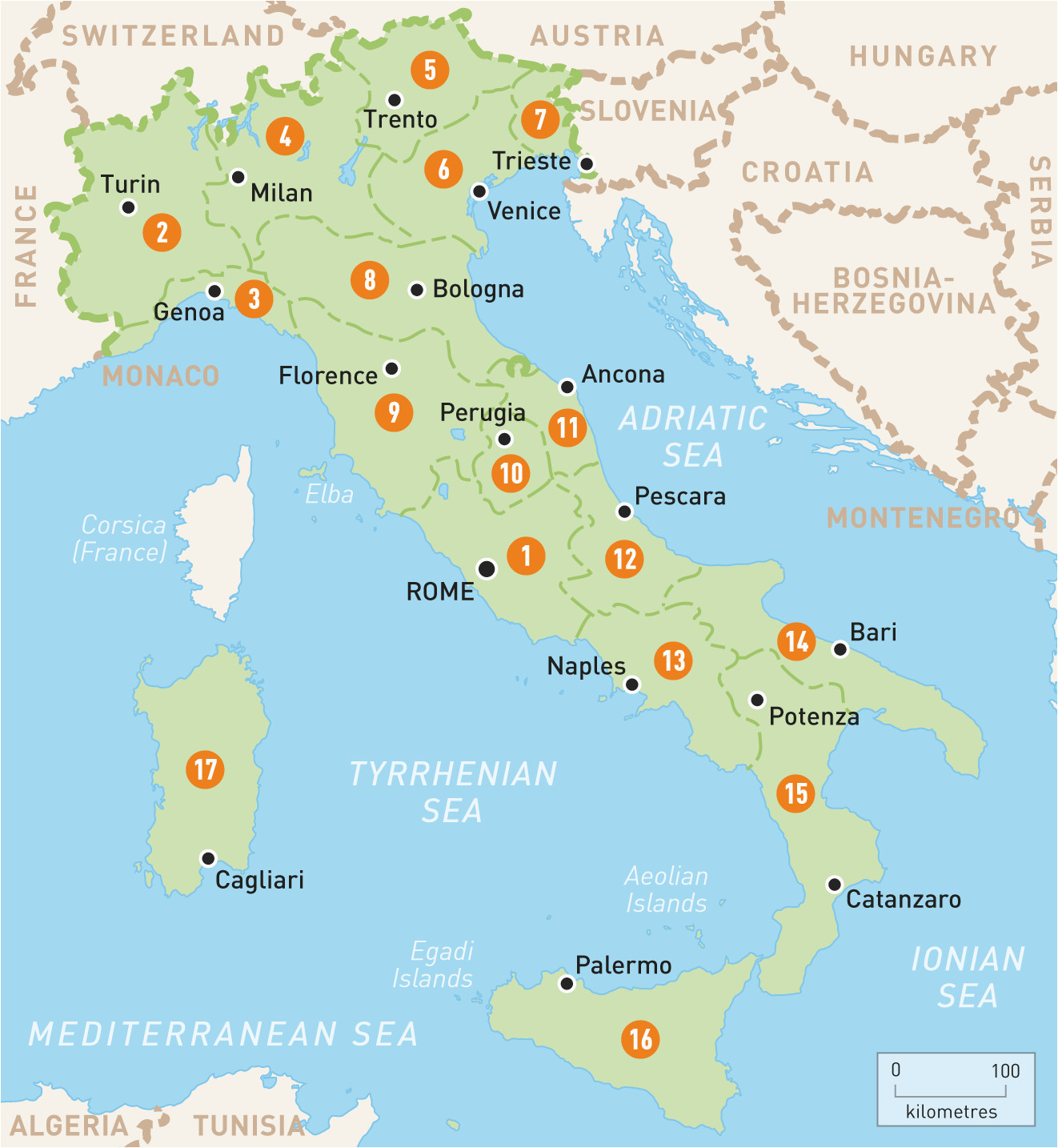 Map Of Italy with Regions and Capitals Map Of Italy Italy Regions Rough Guides