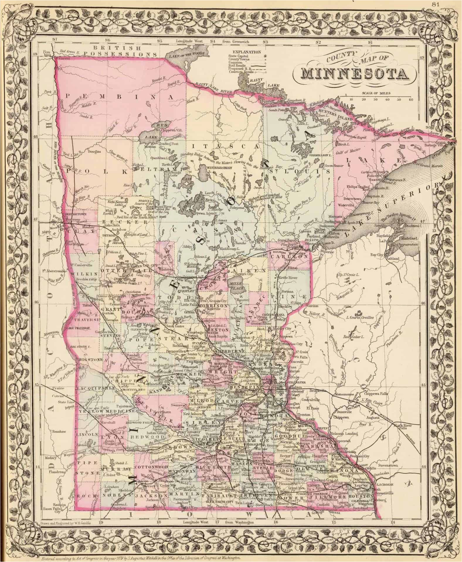 Map Of Michigan Wisconsin and Minnesota Old Historical City County and State Maps Of Minnesota