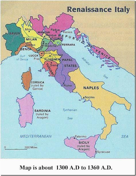 Map Of Renaissance Italy Italy 1300s Historical Stuff Italy Map Italy History Renaissance